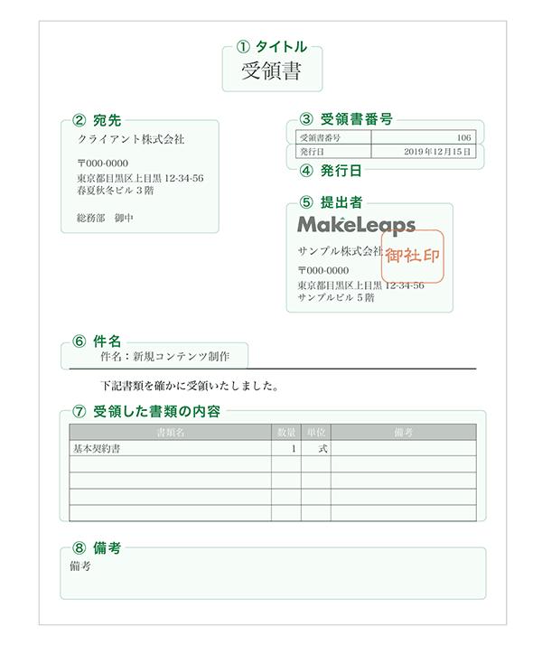 【種類3】書類受領書の記載事項
