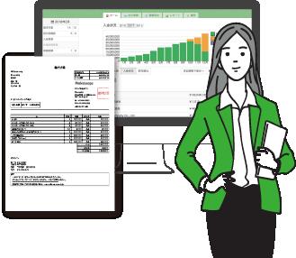 会社のバックオフィス業務を効率化するクラウド型請求管理ソフトのイメージ図
